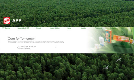 Captura de la web de la empresa Asia Pulp & Paper.