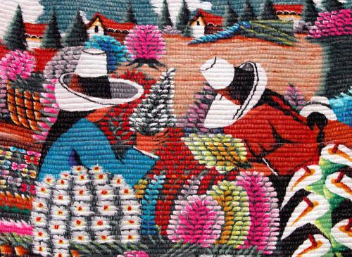 Bordado: mujeres cosechando (artesanía tradicional ecuatoriana)