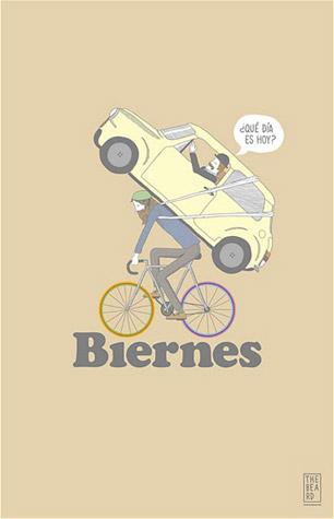 Ilustración de un ciclista llevando a cuestas un coche