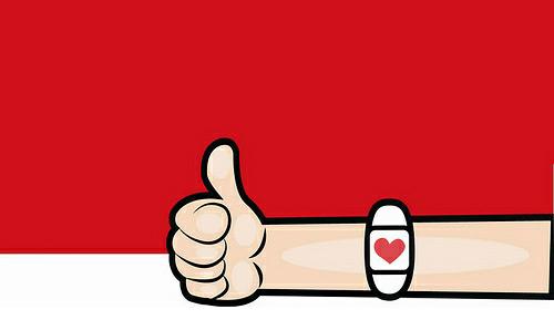Ilustración: un donante levanta el dedo pulgar en señal de aprobación