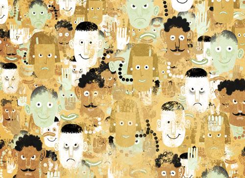 Ilustración: mucha gente; unos parecen buenos, otros parecen malos