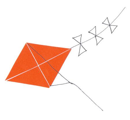 Ilustración: una cometa naranja en pleno vuelo