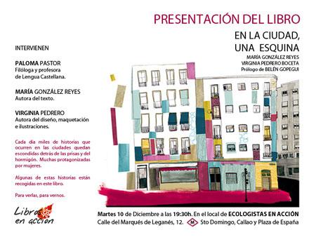 Cartel de la presentación del libro de Virginia Pedrero en el local de Ecologistas en Acción