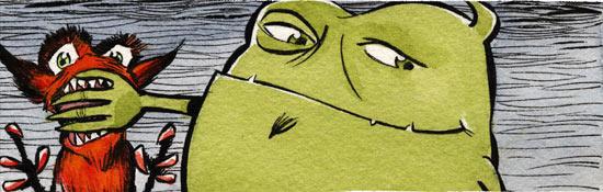 Monstruo verde tapándole la boca a un diablo rojo