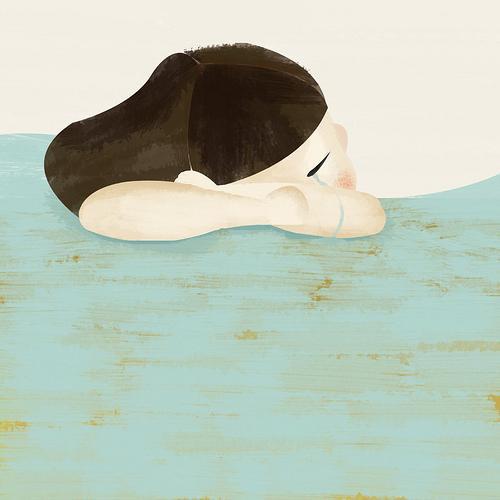 Ilustración: una chica llora apoyando su cara sobre una mesa