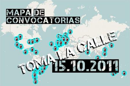 Mapa de convocatorias del 15 de octubre (toma la calle)
