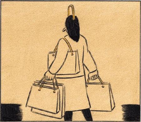 Viñeta de El Roto: una mujer con bolsas; ella misma tiene asas, como una bolsa