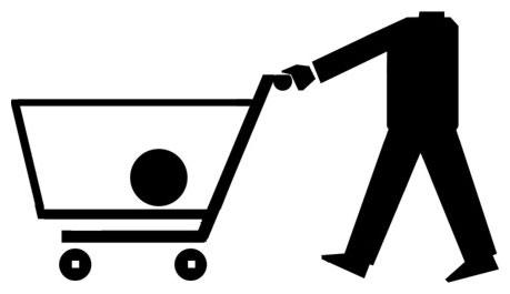 Ilustración: un hombre empuja un carrito de la compra en el que lleva su cabeza