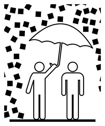 Ilustración: un hombre resguarda a otro bajo su paraguas