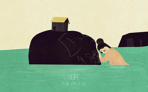 Ilustración: una mujer ve cómo el elefante que lleva sus pertenencias se está ahogando