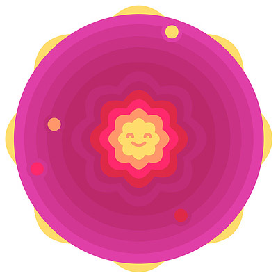 Ilustración: círculos concéntricos; en el centro, una estrella muy feliz