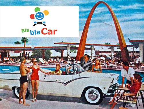 Bla Bla Car (ilustración: personas alrededor de un coche)