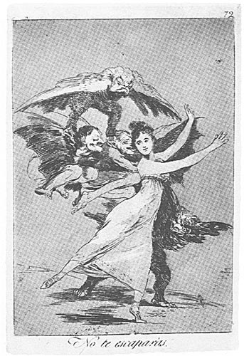 Ilustración antigua: unos monstruos persiguen a una dama
