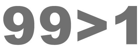 99% (99 es mayor que 1)