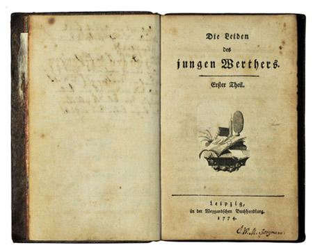 Portada de la primera edición de Las cuitas del joven Werther, de Goethe